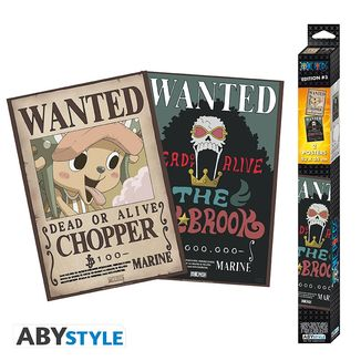 Poster One Piece Wanted Chopper & Brook Set 52 x 38 cms