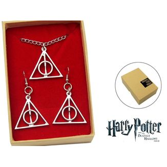 Harry Potter Pendant and Earrings Deathly Hallows Set
